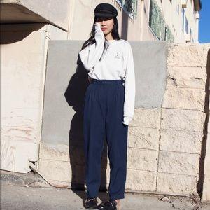 Vintage 80s navy blue minimalist high waist pants